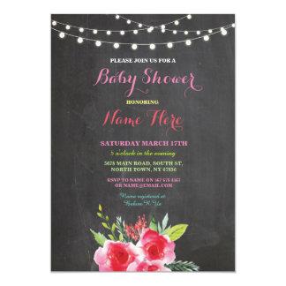 Baby-Duschen-Party-Tafel-Blumenrosa laden ein 12,7 X 17,8 Cm Einladungskarte