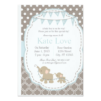 Baby-Elefant - Babyparty-Einladung Karte