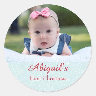 Baby-erstes Weihnachten personalisiert Runder Aufkleber