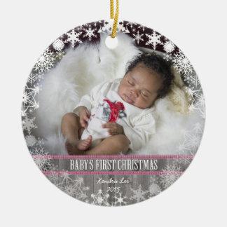 Baby-erstes Weihnachten Rundes Keramik Ornament