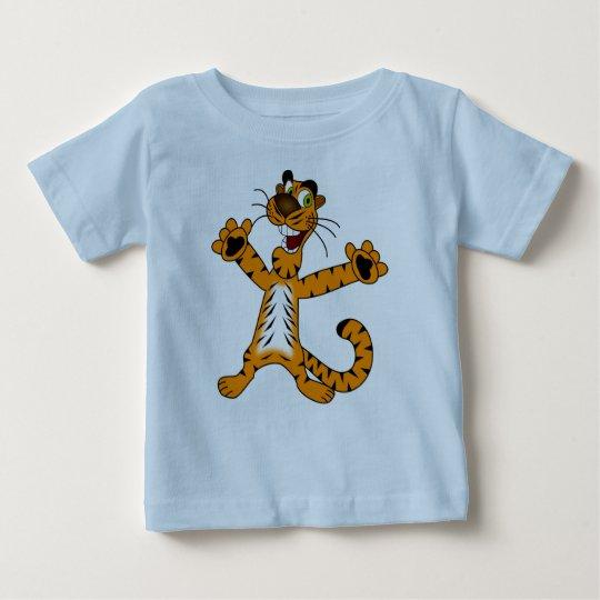 Baby-feiner hellblauer Jersey-T - Shirt mit Tiger