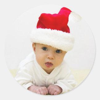 Baby-Foto-Weihnachtsaufkleber Runder Aufkleber