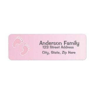 Baby-Fuß-Druck-blaues Adressen-Etikett