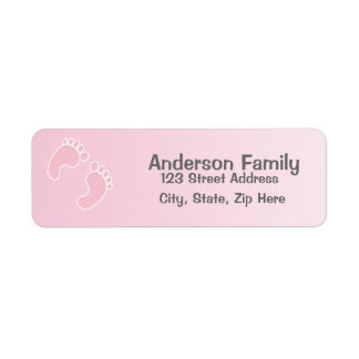 Baby-Fuß-Druck-blaues Adressen-Etikett Rücksendeetikett