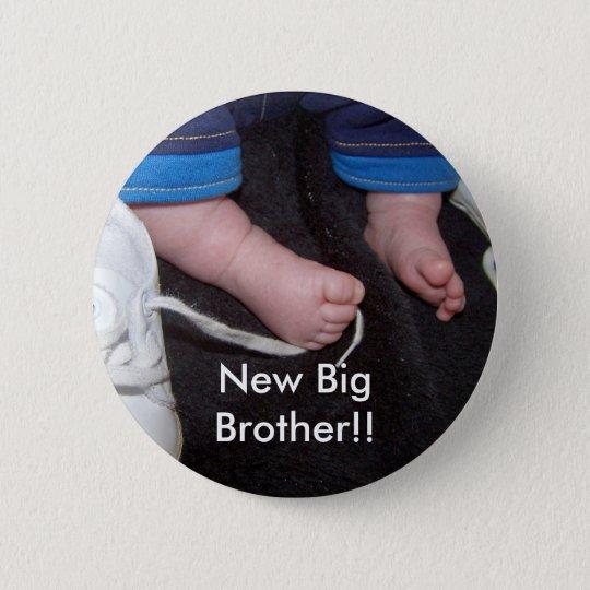 Baby-Füße, neuer großer Bruder!! Runder Button 5,1 Cm