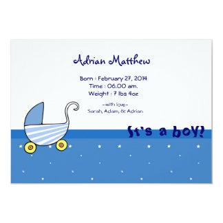 Baby-geborene Mitteilung 12,7 X 17,8 Cm Einladungskarte