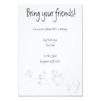 Baby-gehender Drache zum Party (Schwarzweiss) 8,9 X 12,7 Cm Einladungskarte