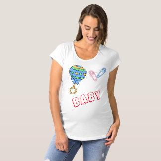 Baby-Geklapper und Button-Mutterschafts-T - Shirt