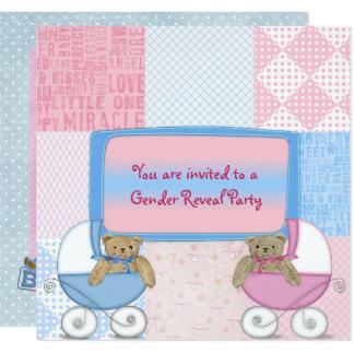 Baby-Geschlecht decken Party auf Quadratische 13,3 Cm Einladungskarte
