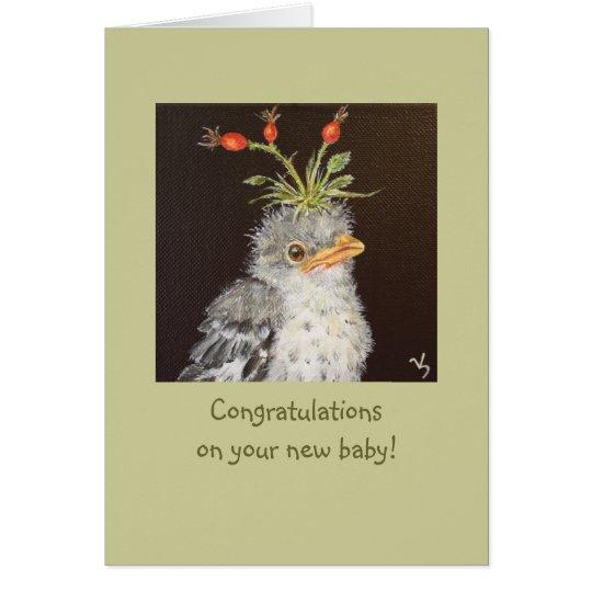 Baby-Glückwunsch mit Babyspottdrosselkarte Grußkarte