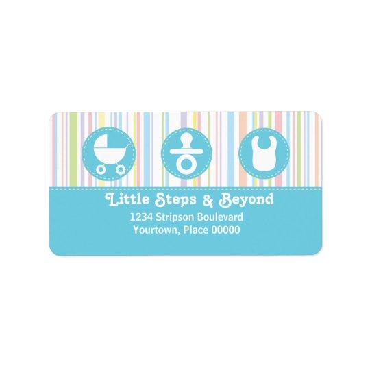 Baby-Ikonen-Trio Stripes blaue Adresse Adressaufkleber