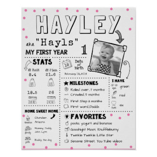 Baby Infographic Meilenstein erstes Birthay Brett Poster