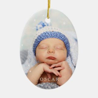 Baby ist es kalte Außenseite im Ruhe-Blau Keramik Ornament
