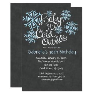 Baby ist es kalte äußere Geburtstags-Einladung Karte