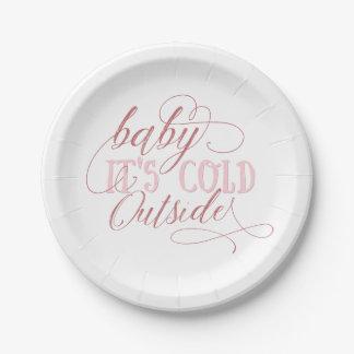 Baby ist es kalte äußere rosa Skript-Zitat-Platte Pappteller