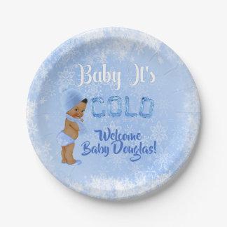 Baby ist es kalte Schneeflocke-blaue ethnische Pappteller