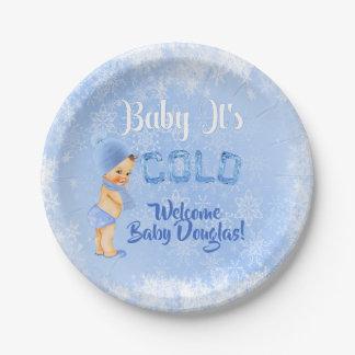Baby ist es kalte Schneeflocke-Winter-blauer Pappteller