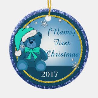 Baby-Jungeblaues Teddy-Bärn-personalisiertes Keramik Ornament