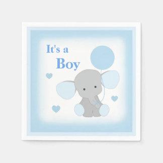 Baby-Jungen-Duschen-blaues Grau-Elefant besprühen Papierservietten