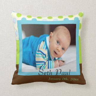 Baby-Jungen-Foto-Mitteilung Zierkissen