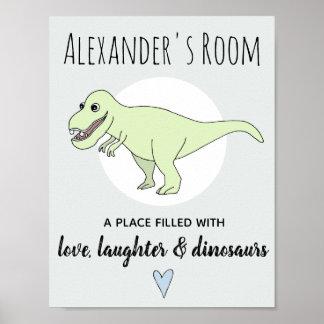 Baby-Jungen-Gekritzel-Dinosaurier T-Rex mit Poster