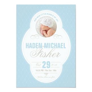 Baby-Jungen-Vintage Rahmen-Geburts-Mitteilung - 12,7 X 17,8 Cm Einladungskarte
