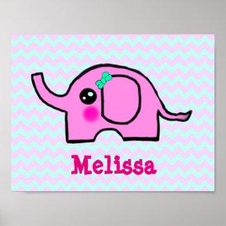 Baby-Kinderzimmer-Elefant-Plakat Poster
