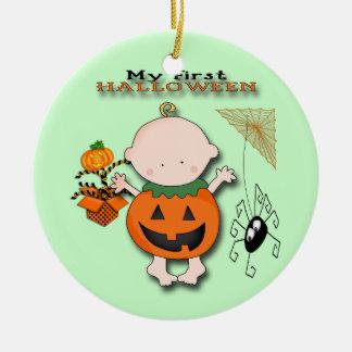 Baby-Kürbis meine 1. runde Verzierung Halloweens Rundes Keramik Ornament