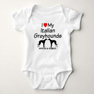 Baby-Lieben zwei italienischer Windhund-Hunde Baby Strampler