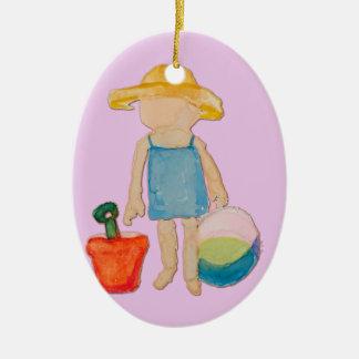Baby-Mädchen auf Ovales Keramik Ornament