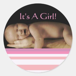 Baby-Mädchen-Aufkleber mit Ihrem Baby-Foto Runder Aufkleber