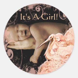 Baby-Mädchen-Aufkleber mit Ihrem Baby-Foto