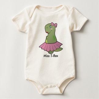 Baby-Mädchen-Dinosaurier-Fräulein T-Rex Organic Baby Strampler