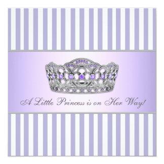 Baby-Mädchen-Dusche Prinzessin-Tiara Lavender Quadratische 13,3 Cm Einladungskarte