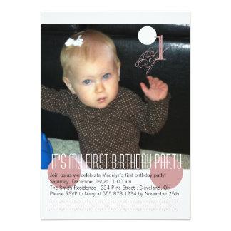 Baby-Mädchen-erste Geburtstags-Party Einladung