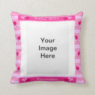 Baby-Mädchen-Foto-Rahmen Zierkissen