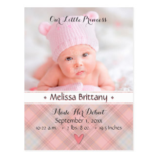 Baby-Mädchen-Geburts-Mitteilung Prinzessin-Pink Postkarte