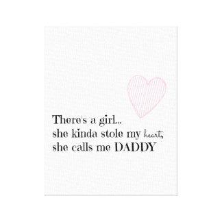 Baby-Mädchen-Kinderzimmer - Vati-Zitat - Galerie Gefaltete Leinwand