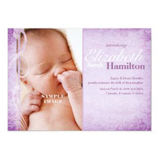 Baby-Mädchen-lila Geburts-Mitteilung 12,7 X 17,8 Cm Einladungskarte