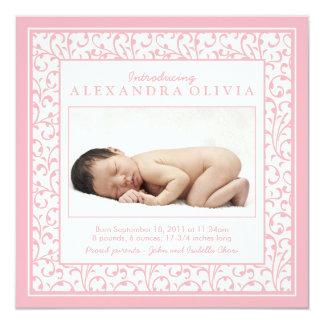 Baby-Mädchen-Rosa-BlumenFoto-Geburts-Mitteilung Quadratische 13,3 Cm Einladungskarte