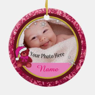 Baby-Mädchen-Rosateddy-Bärn-personalisiertes Keramik Ornament