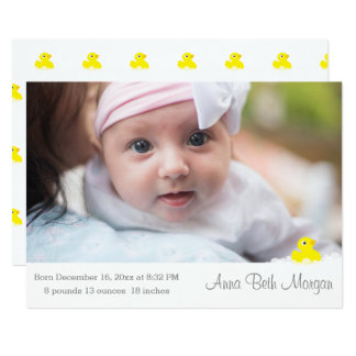 Baby-Mitteilung - Gummiente Karte
