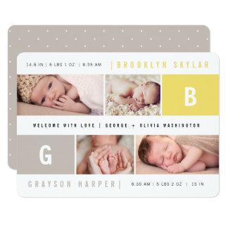 Baby-Monogramm-Jungen-Mädchen paart Karte