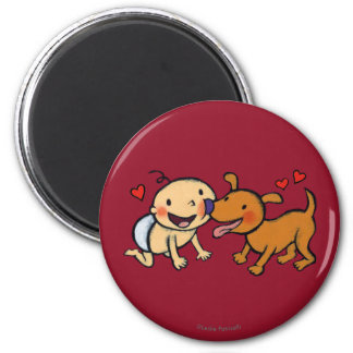Baby-Nasen-Küsse vom Hund Runder Magnet 5,7 Cm