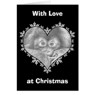 Baby-Orang-Utan Schneeflocke-Herz-Weihnachtskarte Grußkarte