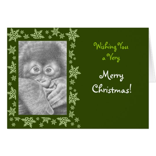 Baby-Orang-Utan Weihnachtskarte Karte