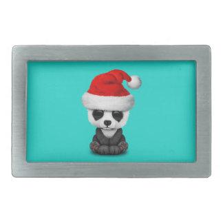 Baby-Panda-Bär, der eine Weihnachtsmannmütze trägt Rechteckige Gürtelschnalle