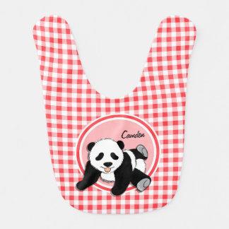 Baby-Panda; Roter und weißer Gingham Babylätzchen