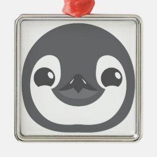 Baby-Pinguingesicht Quadratisches Silberfarbenes Ornament