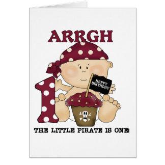 Baby-Piraten-1. Geburtstags-T-Shirts und Geschenke Grußkarte